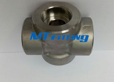Socket Welded F304L / 316L Forged High Pressure Pipe Fitting Stainless Steel Cross