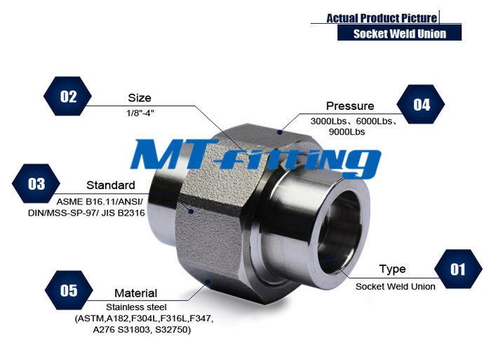 ASME B16.11 F347 Stainless Steel Union Forged High Pressure Pipe Fittings Socket Welded supplier